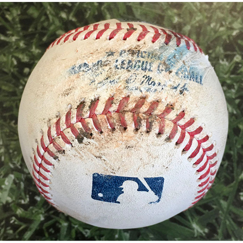 Photo of Game-Used Baseball PIT@MIL 08/31/20 - Freddy Peralta - Jacob Stallings: Foul