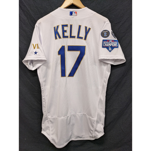 Photo of Joe Kelly Team-Issued Gold Trim 2021 Opening Weekend Home Jersey