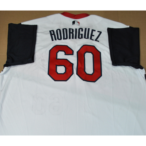 Photo of Game-used Jersey - 2021 Little League Classic - Los Angeles Angels vs. Cleveland Indians - 8/22/2021 - Great Lakes, Victor Rodriguez #60