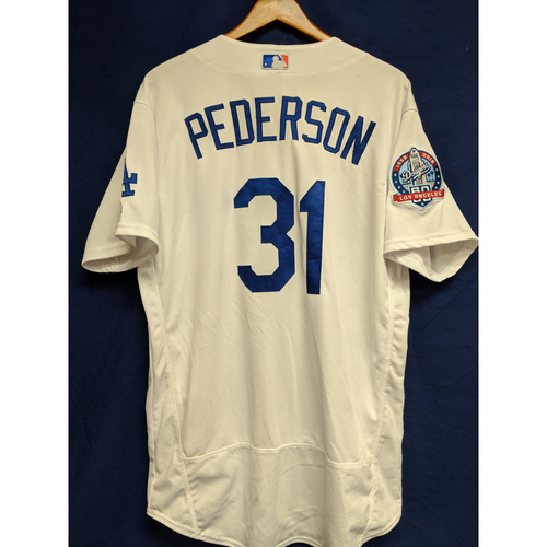 Photo of Joc Pederson  Game-Used Home Jersey from Regular Season Tie Breaker Game - COL vs LAD - 10/1/18