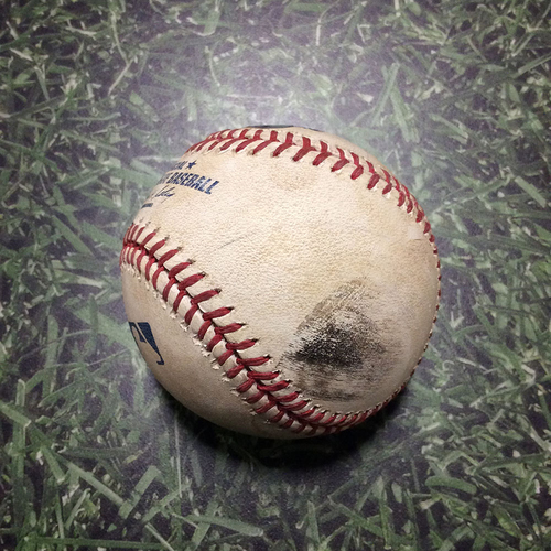Photo of Game-Used Baseball NYM@MIL 06/09/11 - Sergio Mitre - Daniel Murphy: Foul