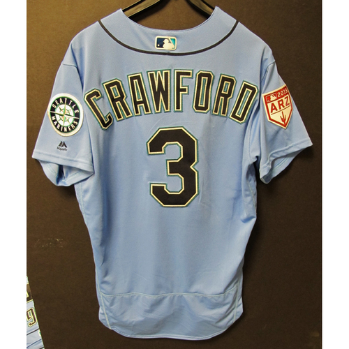 Photo of J.P. Crawford Team Issued Light Blue Spring Training Jersey 2019  Exhibition Game - SD @ SEA 3-26-2019