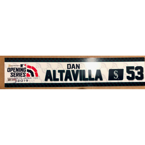 Photo of 2019 Japan Opening Day Series - Game Used Locker Tag - Dan Altavilla -  Seattle Mariners