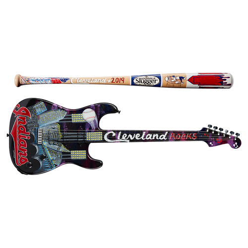 Photo of One-of-a-kind Artist-Painted Indians Louisville Slugger Bat and Fender Stratocaster Guitar