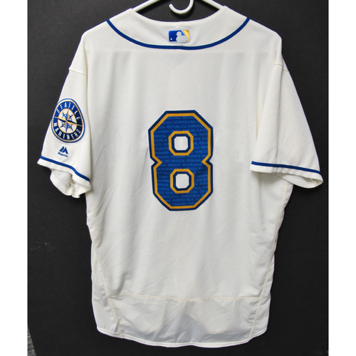 Photo of Seattle Mariners Jake Fraley Game-Used Marineros Jersey (Salute to Latin American) 9-15-2019