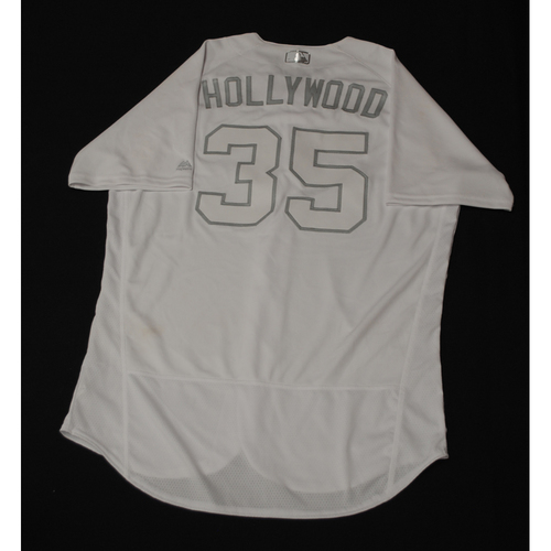 """Photo of Cole """"HOLLYWOOD"""" Hamels Chicago Cubs Game-Used 2019 Players' Weekend Jersey"""