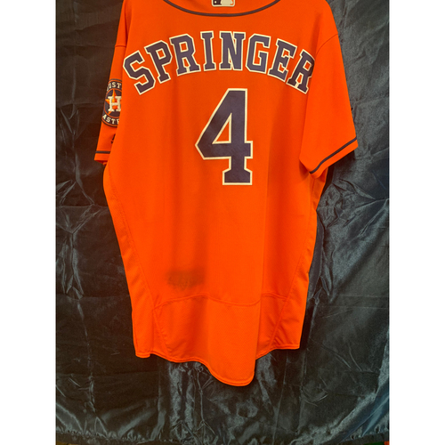 Photo of 2016 George Springer Game-Used Orange Alt Jersey - Size 46