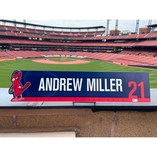 Photo of Cardinals Authentics: Andrew Miller Game Used 2019 Locker Tag