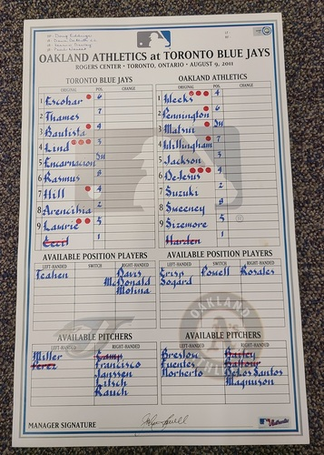 Photo of Authenticated Game Used Lineup Card (August 9, 2011 vs OAK): Canadian Rich Harden Wins with 7 IP, 1 ER and 8 Ks.