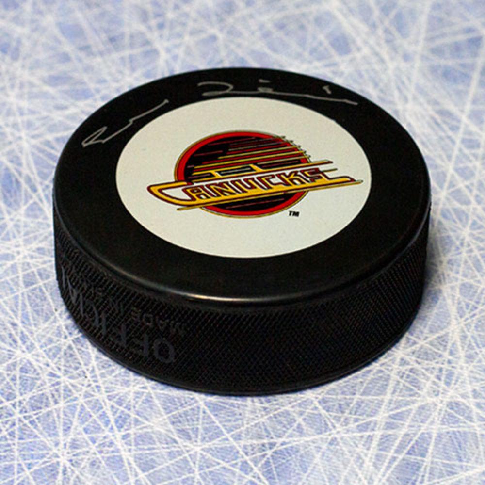 Trevor Linden Vancouver Canucks Autographed Retro Skate Logo Hockey Puck