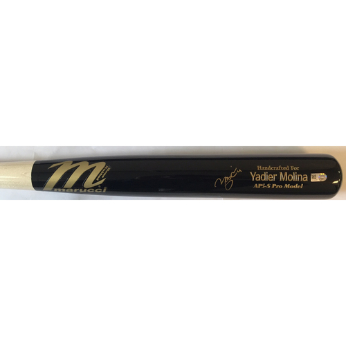 Photo of Yadier Molina Autographed Game Model Marucci Bat