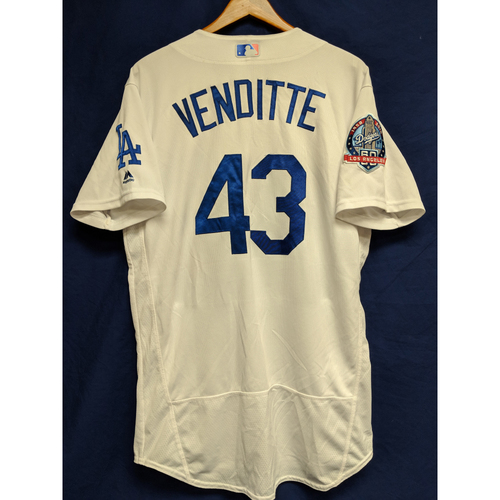Photo of Pat Venditte Game-Used Home Jersey from Regular Season Tie Breaker Game - COL vs LAD - 10/1/18