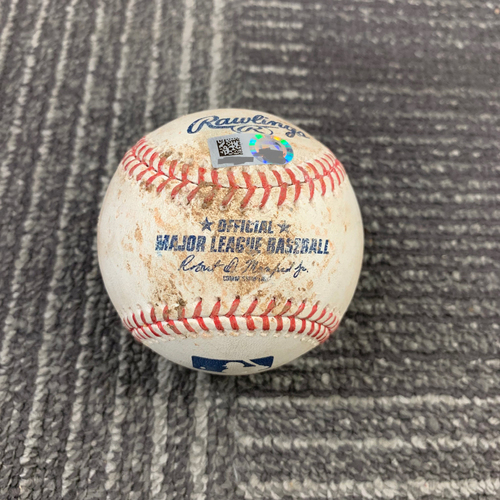 Photo of 2019 Game Used Baseball vs. San Diego Padres - 6/12/19 - T-4: Shaun Anderson to Austin Hedges - Strike Out Swinging & Joey Lucchesi - Foul Ball