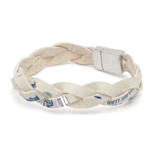 Photo of Tokens & Icons Chicago Cubs Game Used Baseball Leather Bracelet