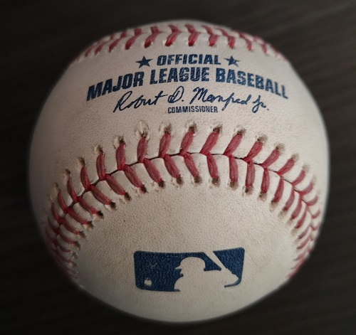Photo of Authenticated Game Used Baseball: Foul by Trea Turner against Seung-Hwan Oh (June 15, 18 vs WAS). Top 7.