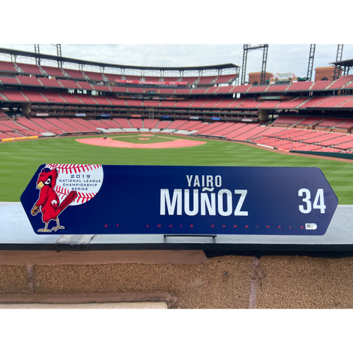 Cardinals Authentics: Yairo Munoz Game Used NLCS Locker Nameplate