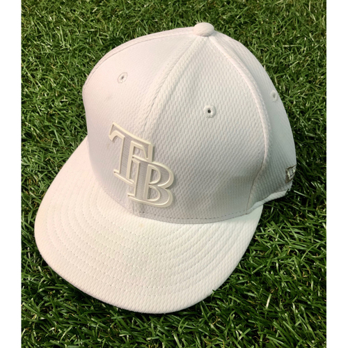 Photo of Game Used Players Weekend Cap (White): Matt Duffy - Starting 3B - August 24, 2019 at BAL