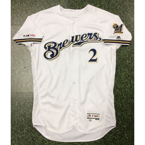 Photo of Trent Grisham 2019 Team-Issued Home White Jersey