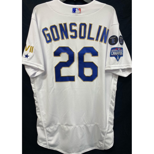 Photo of Tony Gonsolin Team-Issued Gold Trim 2021 Opening Weekend Home Jersey