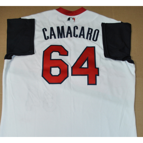 Photo of Game-used Jersey - 2021 Little League Classic - Los Angeles Angels vs. Cleveland Indians - 8/22/2021 - Great Lakes, Armando Camacaro #64