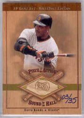Photo of 2001 SP Game Bat Milestone Piece of Action Bound for the Hall Gold #BBB Barry Bonds