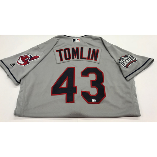 Photo of Josh Tomlin Team-Issued 2016 World Series Road Jersey