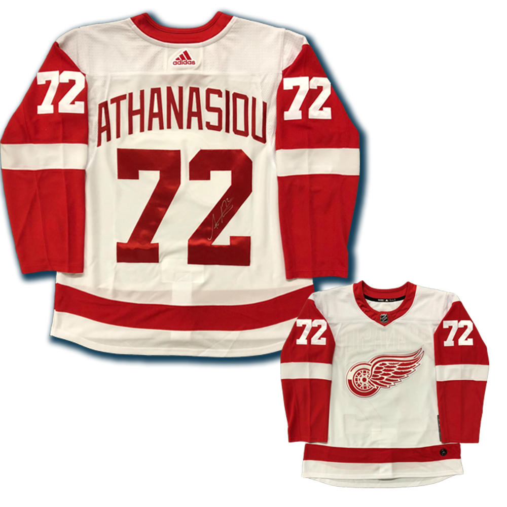 ANDREAS ATHANASIOU Signed Detroit Red Wings White Adidas PRO Jersey