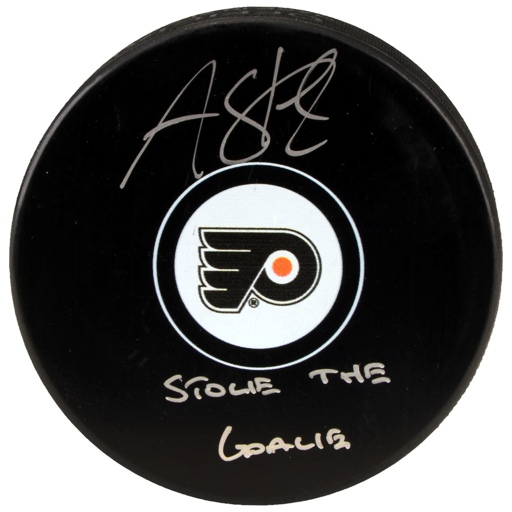Anthony Stolarz Philadelphia Flyers Autographed Hockey Puck with Stolie The Goalie Inscription
