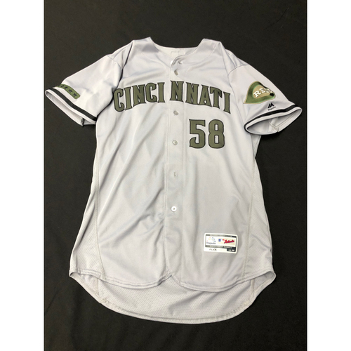 Photo of Luis Castillo -- Game-Used -- Memorial Day Jersey (Worn: May 26-28, 2018)