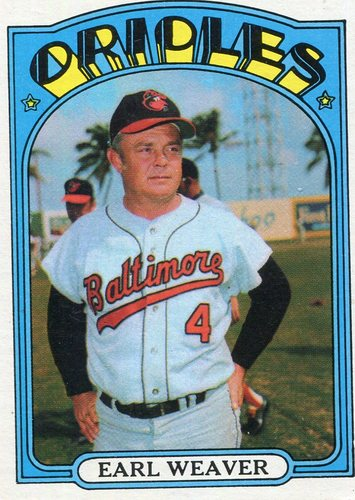 Photo of 1972 Topps #323 Earl Weaver -- Hall of Fame Class of 1996