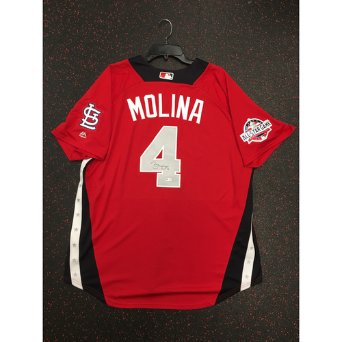 Photo of Yadier Molina 2018 Major League Baseball Workout Day Autographed Jersey