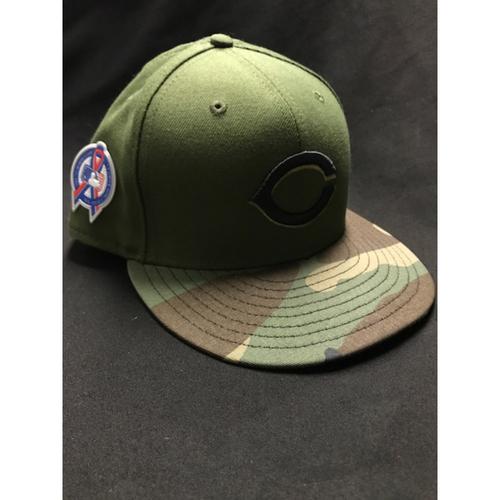 Photo of Alex Blandino - Game-Used - Military Appreciation Hat (Worn: 2018) - 6/6 PH BB