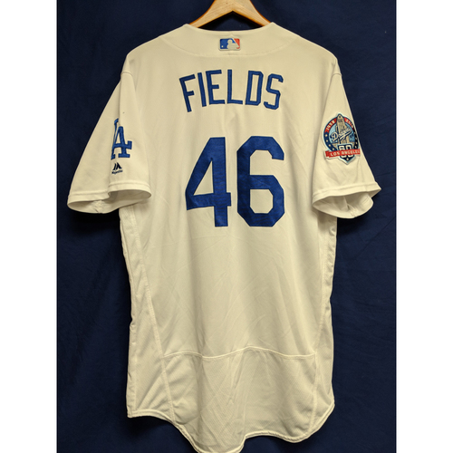 Photo of Josh Fields Game-Used Home Jersey from Regular Season Tie Breaker Game - COL vs LAD - 10/1/18