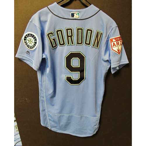 Photo of Dee Gordon Team Issued Light Blue Spring Training Jersey 2019  Exhibition Game - SD @ SEA 3-26-2019