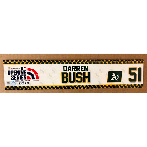 Photo of 2019 Japan Opening Day Series - Game Used Locker Tag - Darren Bush -  Oakland Athletics