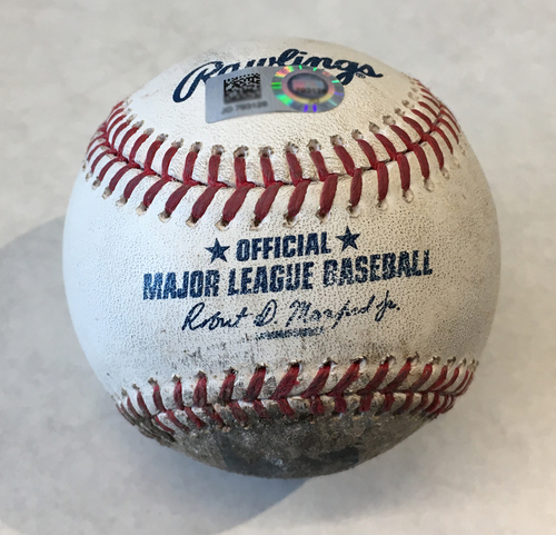 Photo of Game-Used Baseball -- Adbert Alzolay to Wilson Ramos, Strikeout, Top 6, 95 MPH Strikeout; Alzolay 3rd Career Strikeout -- Mets vs. Cubs -- 6/20/19