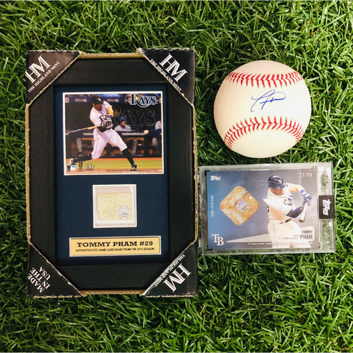 National Keratoconus Foundation: Tommy Pham - Autographed Baseball, Framed Piece, Relic Baseball Card