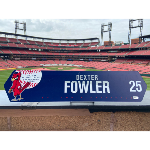 Cardinals Authentics: Dexter Fowler Game Used NLCS Locker Nameplate
