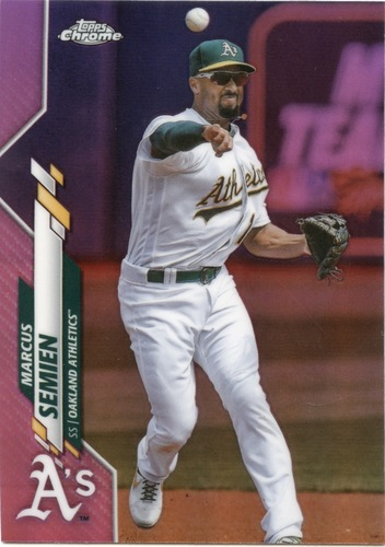 Photo of 2020 Topps Chrome Pink Refractors #144 Marcus Semien