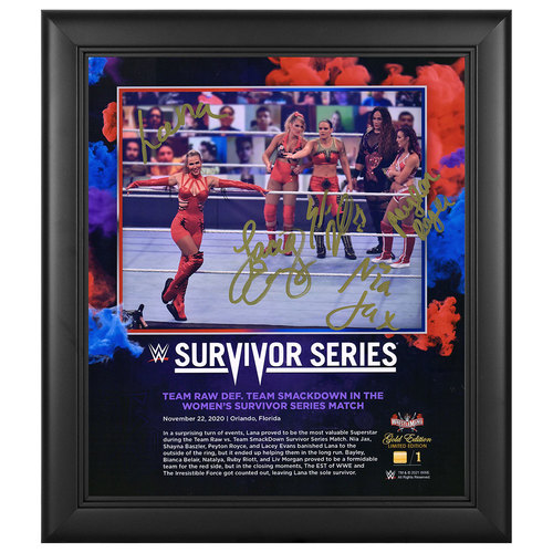 Photo of Women's Team Raw SIGNED Survivor Series 2020 WrestleMania Gold Edition Plaque (#1 of 1)