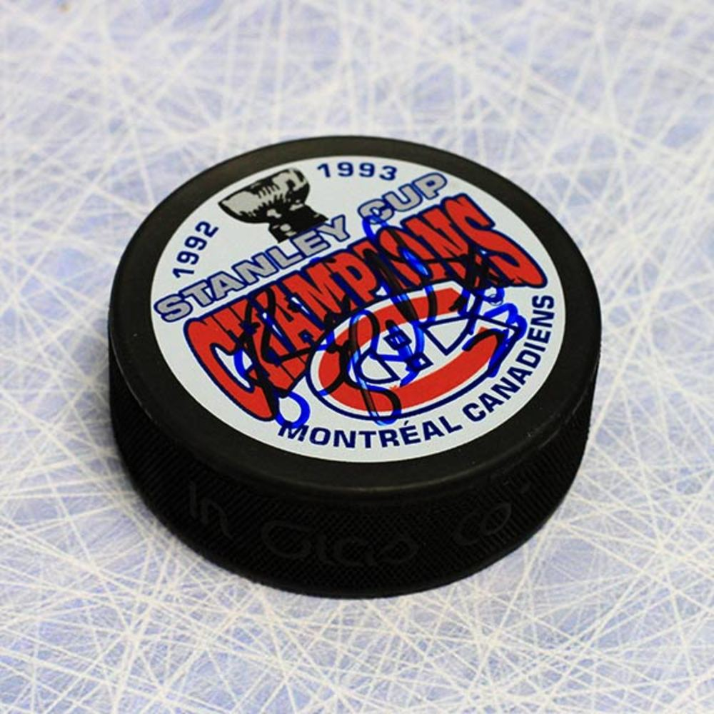 Brian Bellows Montreal Canadiens Autographed 1993 Stanley Cup Puck