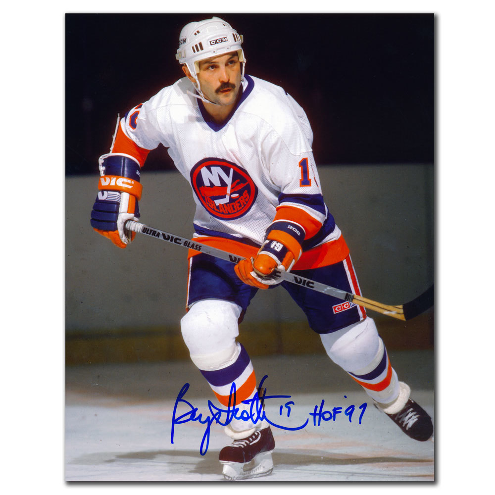 Bryan Trottier New York Islanders WHITE JERSEY Autographed 8X10