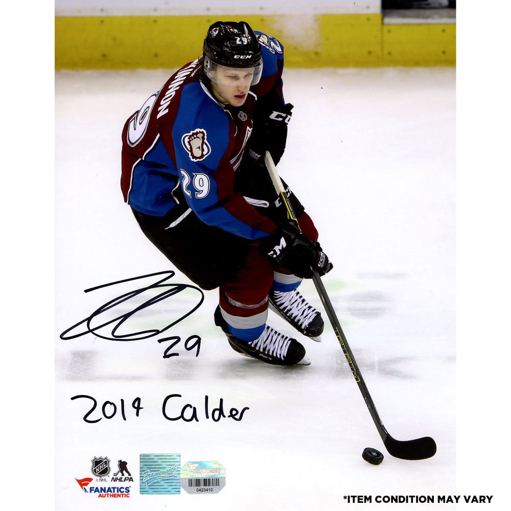 Nathan MacKinnon Colorado Avalanche Autographed 8'' x 10'' Photograph with 2014 Calder Inscription - Imperfect Condition