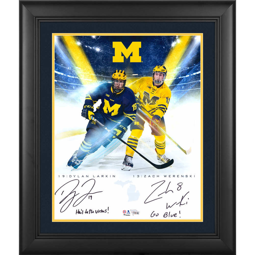Dylan Larkin & Zach Werenski Michigan Wolverines Framed Autographed 16