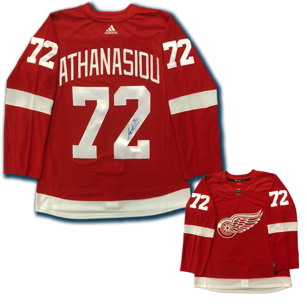 ANDREAS ATHANASIOU Signed Detroit Red Wings Red Adidas PRO Jersey