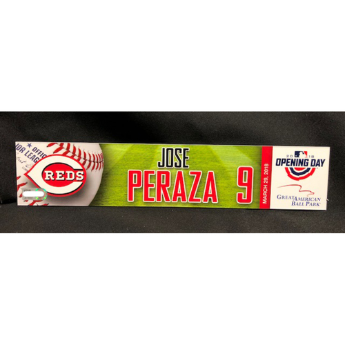 Photo of Jose Peraza Opening Day Locker Name Plate -- Reds Opening Day Starting Shortstop -- WSH vs. CIN on 3/30/18