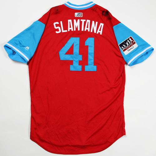 "Photo of Carlos ""Slamtana"" Santana Philadelphia Phillies Game-Used Jersey 2018 Players' Weekend Jersey"