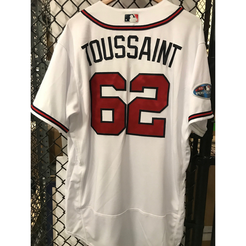 Photo of Touki Toussaint Game-Used 2018 NLDS Jersey - Worn 10/7/18 - First Postseason Game at SunTrust Park