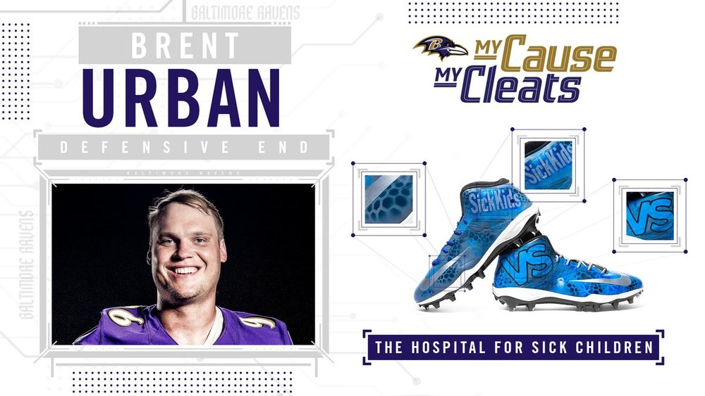 My Cause My Cleats - Ravens Brent Urban Game Used Custom Cleats