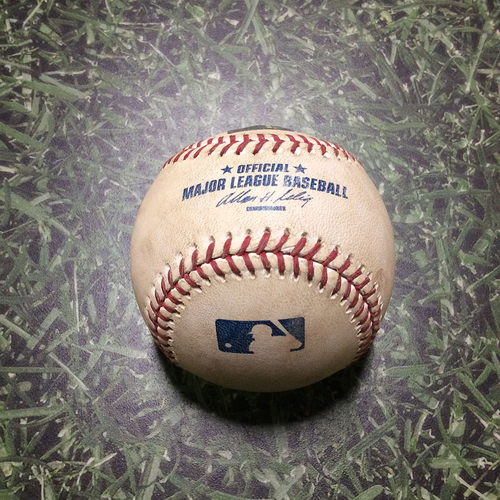 Photo of Game-Used Baseball MIN@MIL 06/25/11 - Yovani Gallardo - Joe Mauer: Ball